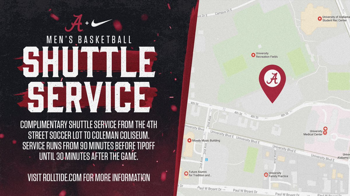 Coming to the @AlabamaMBB game tonight?! Free shuttle service is back for the season! Fans can park in the Soccer lots and ride over for free starting 90 minutes before tipoff. Details: rolltide.com/news/2019/11/1…