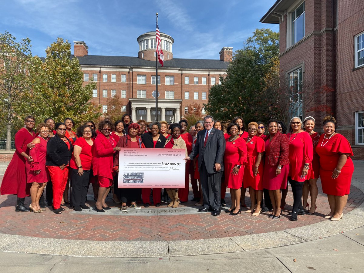 Once a Dawg, #AlwaysADawg! The Zeta Psi Chapter of Delta Sigma Theta Sorority, Inc., UGA's first African American sorority, celebrated its 50th anniversary and presented President Jere Morehead with a check to fund 2 Georgia Commitment Scholarships today.