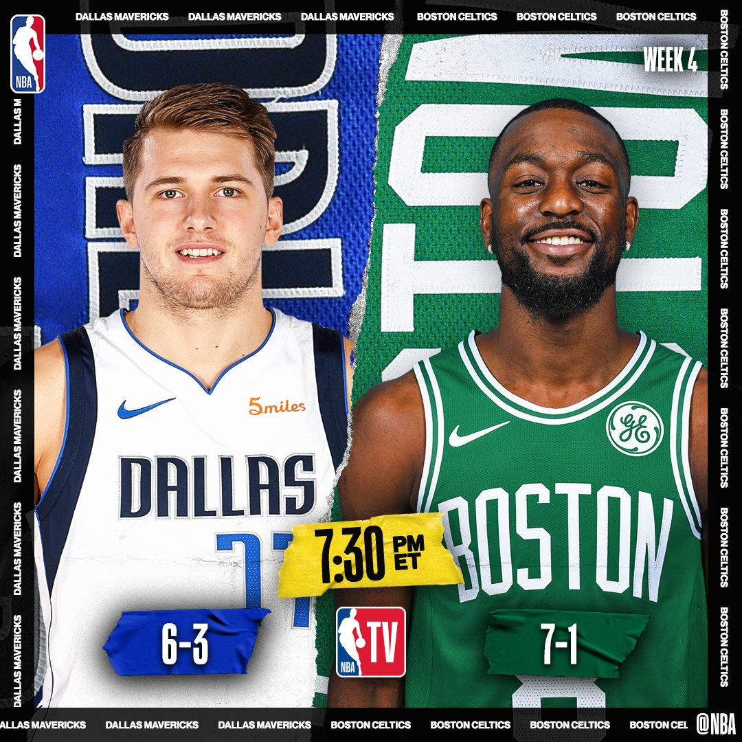 👀📺 TONIGHT on @NBATV!  ▪️ Celtics own the league's best record at 7-1 ▪️ Luka is averaging near triple-double (27.7 PPG, 10.8 RPG, 9.1 APG) ▪️ Pascal Siakam named Eastern Conference Player of the Week  7:30pm/et: @dallasmavs / @celtics   10:30pm/et: @Raptors / @LAClippers