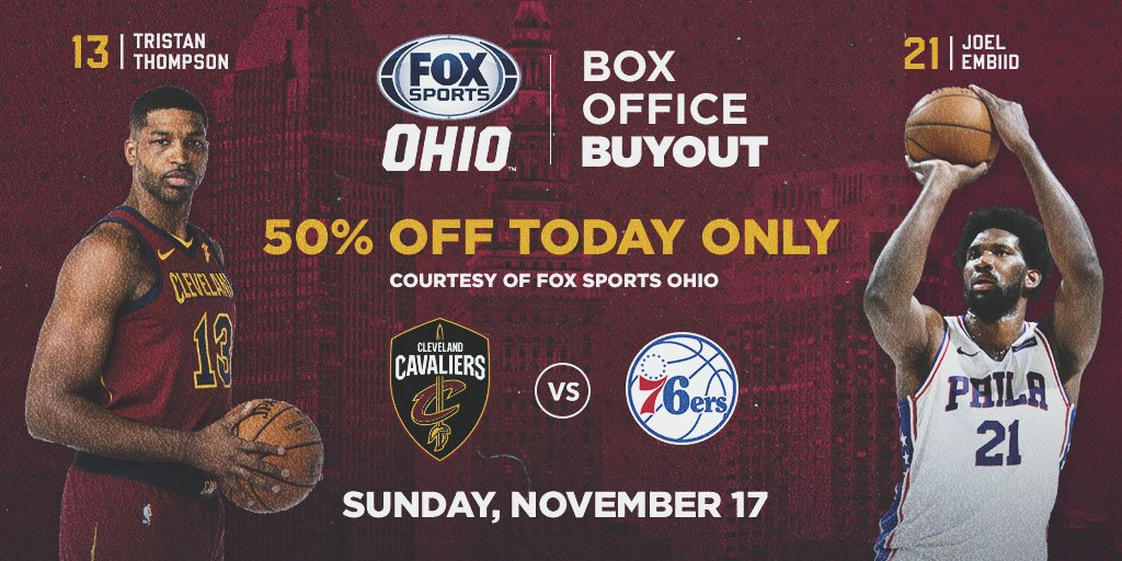 Make sure to watch tonight's @cavs game on FOX Sports Ohio -- it's a Box Office Buyout with discount tickets to #CavsSixers on 11/17!   MORE INFO: http://cavs.com/buyout