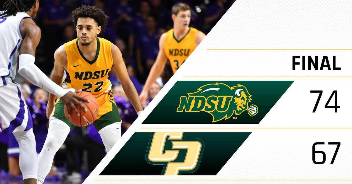 FINAL: Bison defeat Cal Poly 74-67 behind 21 points from Vinnie Shahid, and 13 second-half points from Cameron Hunter.