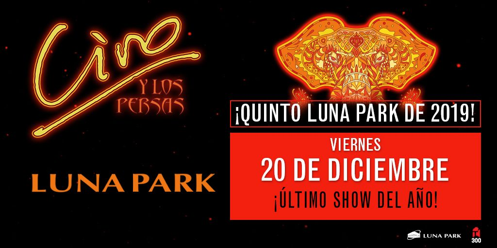 ¡Ciro y Los Persas anuncian su últmo show del año en el #LunaPark! ¡Quinto Luna en 2019! Las entradas se pondrán a la venta a partir de hoy a las 20 hs. por sistema Ticketportal, y a partir de mañana en boletería del estadio, saludos!