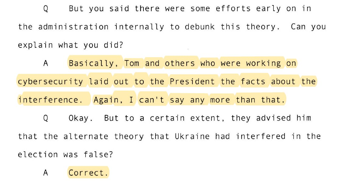 Here's the reality: The FBI, CIA, NSA, DNI, DOJ and Congress say Russia hacked the Democrats in 2016. But the President believes a conspiracy theory that Ukraine did it. He has believed this for years. Top WH officials tried to convince him that it was Russia, to no avail.