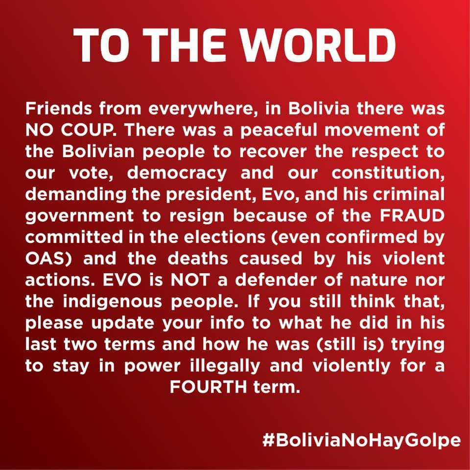 This is happening in #Bolivia. Don't believe the lies of #EvoMorales. Be intelligent, be critic with information. Investigate, don't harm us more! #NoCoup #BoliviaNoHayGolpe #SOSBolivia #BoliviaDijoNo #EvoDictador<br>http://pic.twitter.com/EJbrbN8xB6