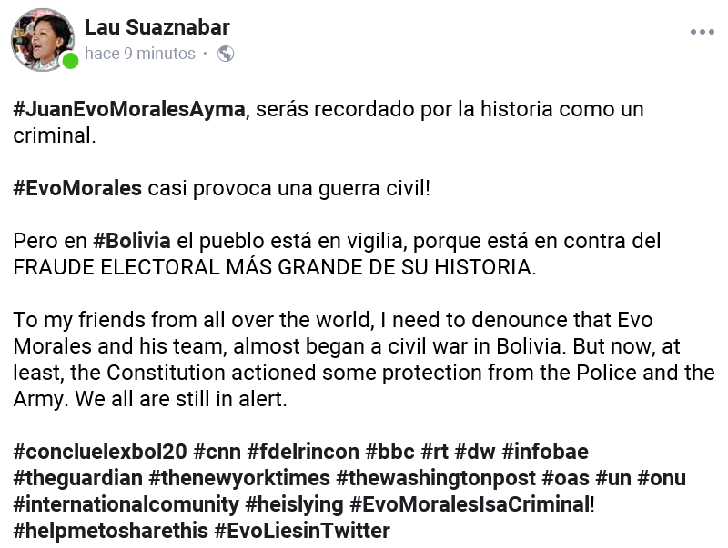 #EvoMorales lies, he is a criminal who almost began a civil war.  #concluelexbol20 #cnn #fdelrincon #bbc #rt #dw #infobae #theguardian #thenewyorktimes #thewashingtonpost #oas #un #onu #internationalcomunity #heislying #EvoMoralesIsaCriminal! #helpmetosharethis #EvoLiesinTwitter<br>http://pic.twitter.com/TDMjDrP5Zm
