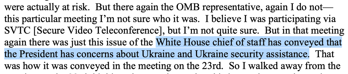 The idea that Trump's henchman -- Sondland, Mulvaney, Giuliani -- were going rogue is left in tatters by the fact that OMB announced at a working-level meeting in July that the hold on assistance to Ukraine came from the President himself.