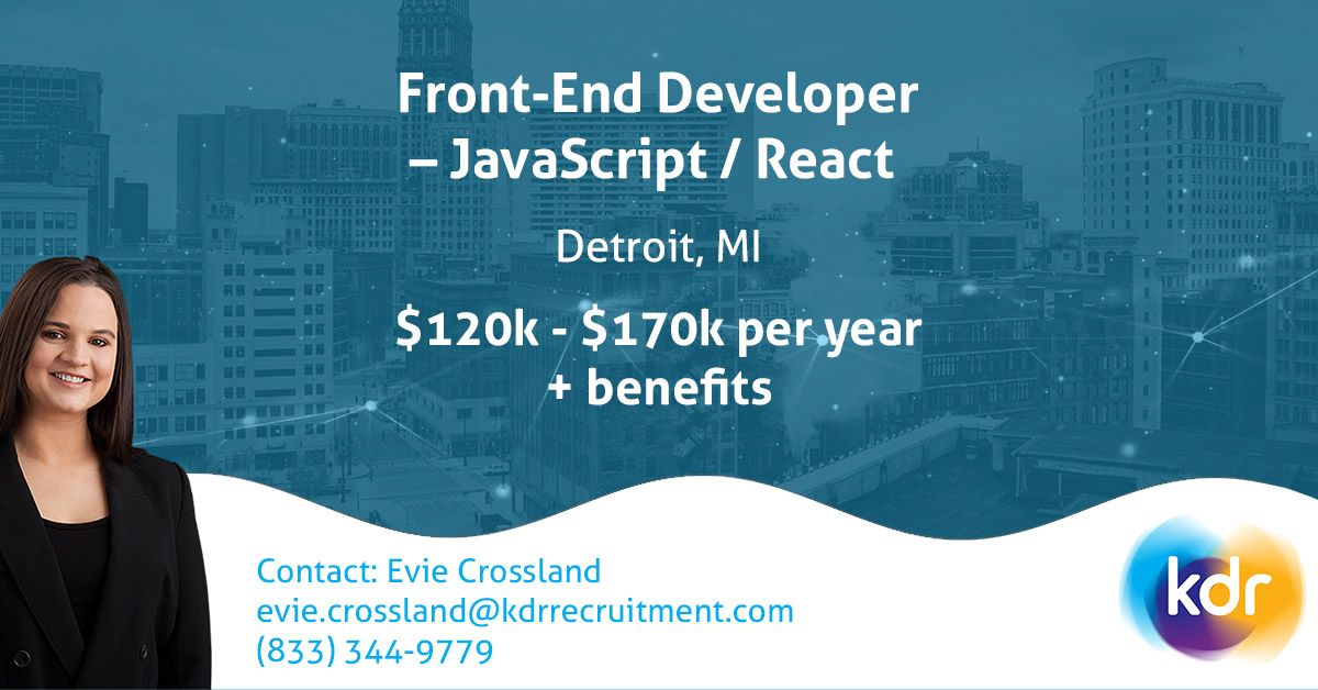 Are you a #FrontEnd #engineer with experience working with #JavaScript technologies?  Contact Evie or #apply online today   http:// bit.ly/332SOYM       #Developer #React #Detroit #SoftwareDevelopment <br>http://pic.twitter.com/8JhozJwcmj