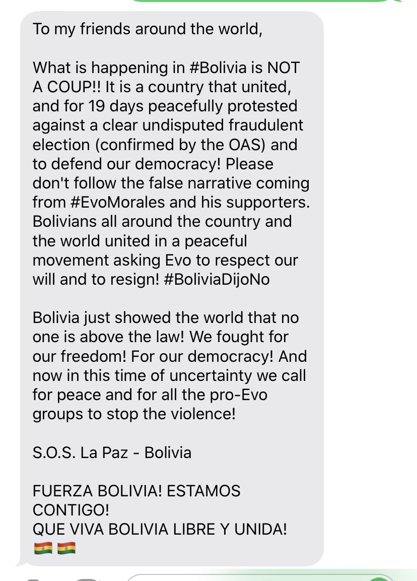 My mentee is Bolivian. Her mother sent me this from her brother-in-law in La Paz. He's a Harvard educated small business owner. I have his contact if any reporters would like to speak to him. #bolviadijono #Bolivia #EvoMorales