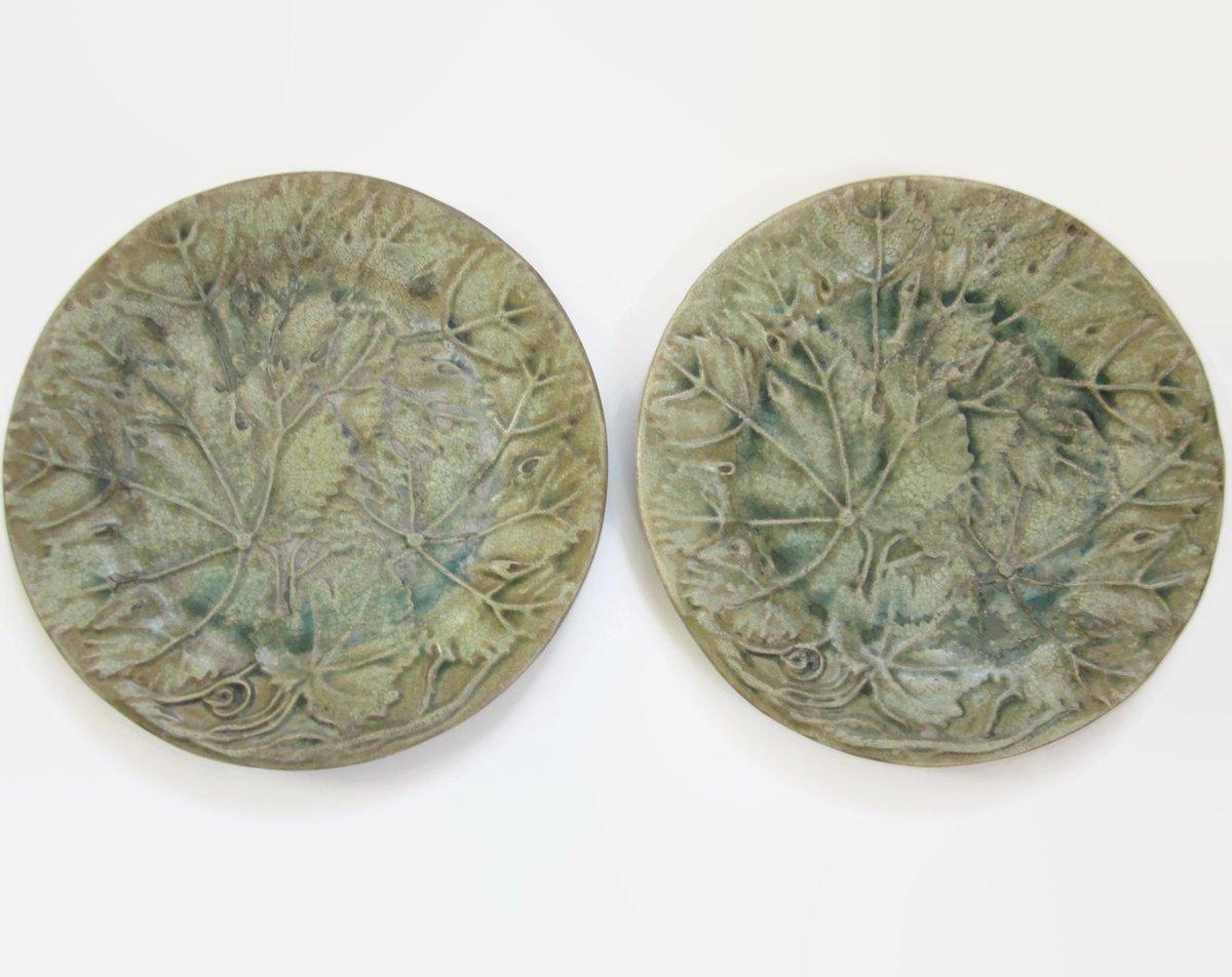 Rustic Green Majolica Pottery Plates