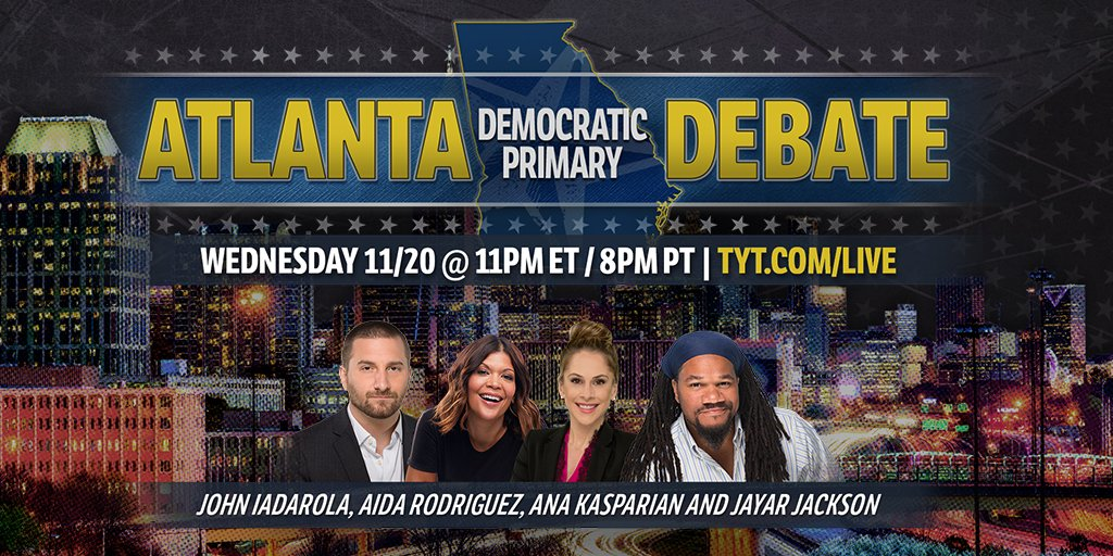 Tune in ⚠️Wednesday, November 20th at 11pm ET/8pm PT⚠️ to check out @TheYoungTurks #DemDebate coverage at TYT.com/Live with commentary by @anakasparian, @johniadarola, @jayarjackson, and @funnyaida #tytlive