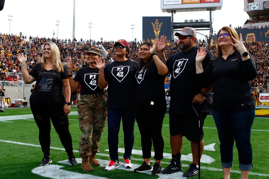 We are proud to honor the Granado Family with the Crest Pitchfork Salute 🇺🇸 Parents Eduardo & Joanna served a combined 52 years in @USArmy, while daughters Kayla and Karina are in Army ROTC. Karina & fellow @ASU student, Navy vet Santos Tobias painted the PT42 logos on field.