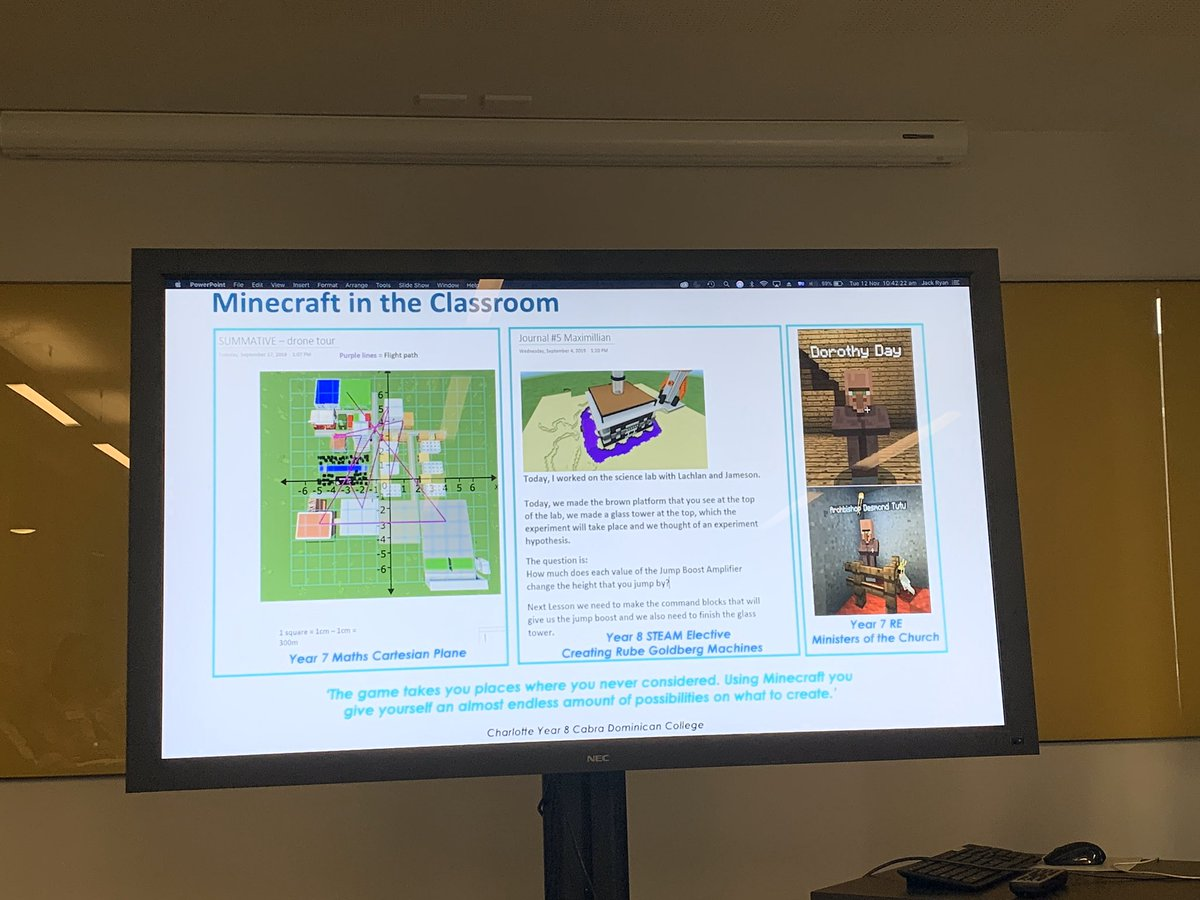 Exploring the possibilities of #Minecraft , so many concepts around #citizenship  #science  #maths  and much more. #CNA  #catholiceducation
