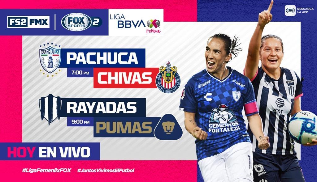 #LigaFemenilxFOX  @TuzosFemenil 🆚 @ChivasFemenil @Rayadas 🆚 @PumasMX