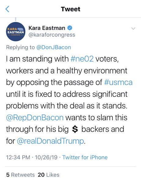 Far-left @karaforcongress (being generous here) is wrong on #USMCANow and devastatingly bad for NE's economy. Thank you to @aga_naturalgas for taking strong stand for #PassTheUSMCA. We should made USMCA top priority now.