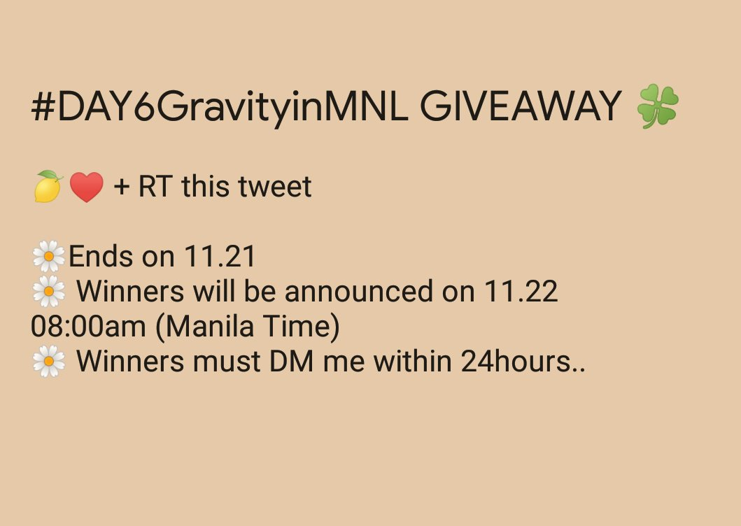 """[GIVEAWAY]  #DAY6GRAVITYinMNL  To celebrate Day6's 2ndvisit to Manila, I will be giving away Official DAY6 The Book of Us: Gravity  """"2 POST CARD  and 1 PHOTOCARD""""  to 3 lucky my days.  Winners must be present on D-day to claim their prize.   #DAY6GRAVITYinMNL  #DAY6  <br>http://pic.twitter.com/x8mWO4kkoV"""