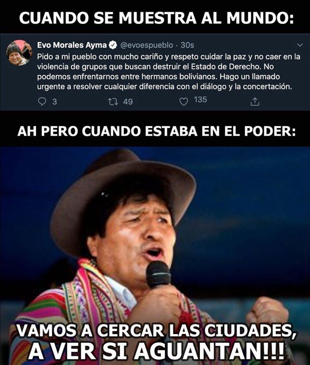 """This is exactly how @evoespueblo victimizes himself in front of the world, but he doesn't talk about haw he tratened our country w fences """"to see if they endure"""". If u are not from MY country, please stop talking bulls**t. U don't know everything. #Bolivia #EvoDictadorFuera <br>http://pic.twitter.com/fnkakl2h61"""
