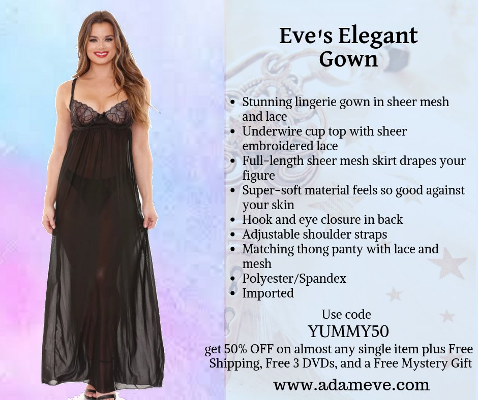 Be elegantly stunning in this sheer embroidered lace gown!   Shop here:  http://bit.ly/EvesElegantGownyummy50  …  Use code YUMMY50 at checkout at  http://bit.ly/EvesElegantGownyummy50   and get 50% OFF on almost any single item plus Free Shipping, Free 3 DVDs & a Free Mystery Gift!  #adamandeve  #coupon  #discount