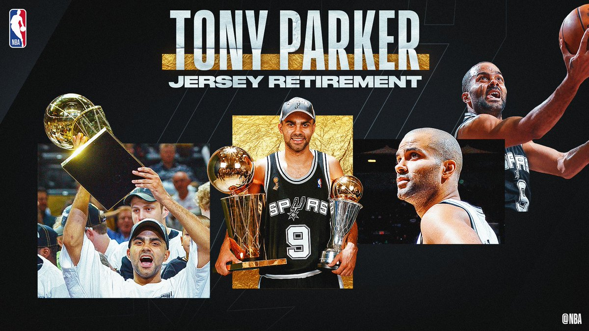 Catch @tonyparker's @spurs jersey retirement live on http://NBA.com  or the NBA app following Grizzlies/Spurs! #MerciTony