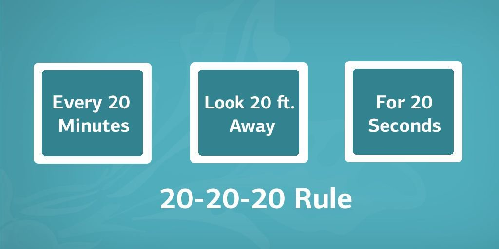CYBER MONDAY TIP: To avoid computer eye strain try this 20-20-20 rule. 😃