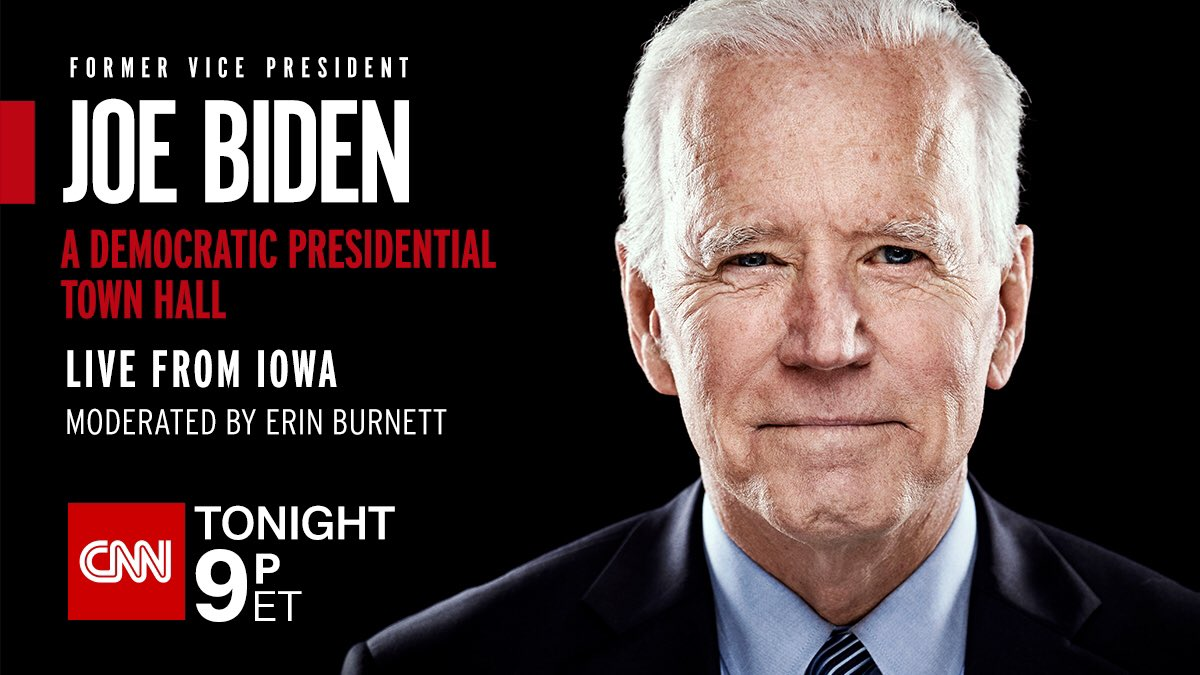 Coming up soon on @CNN — a town hall from Iowa with @JoeBiden.