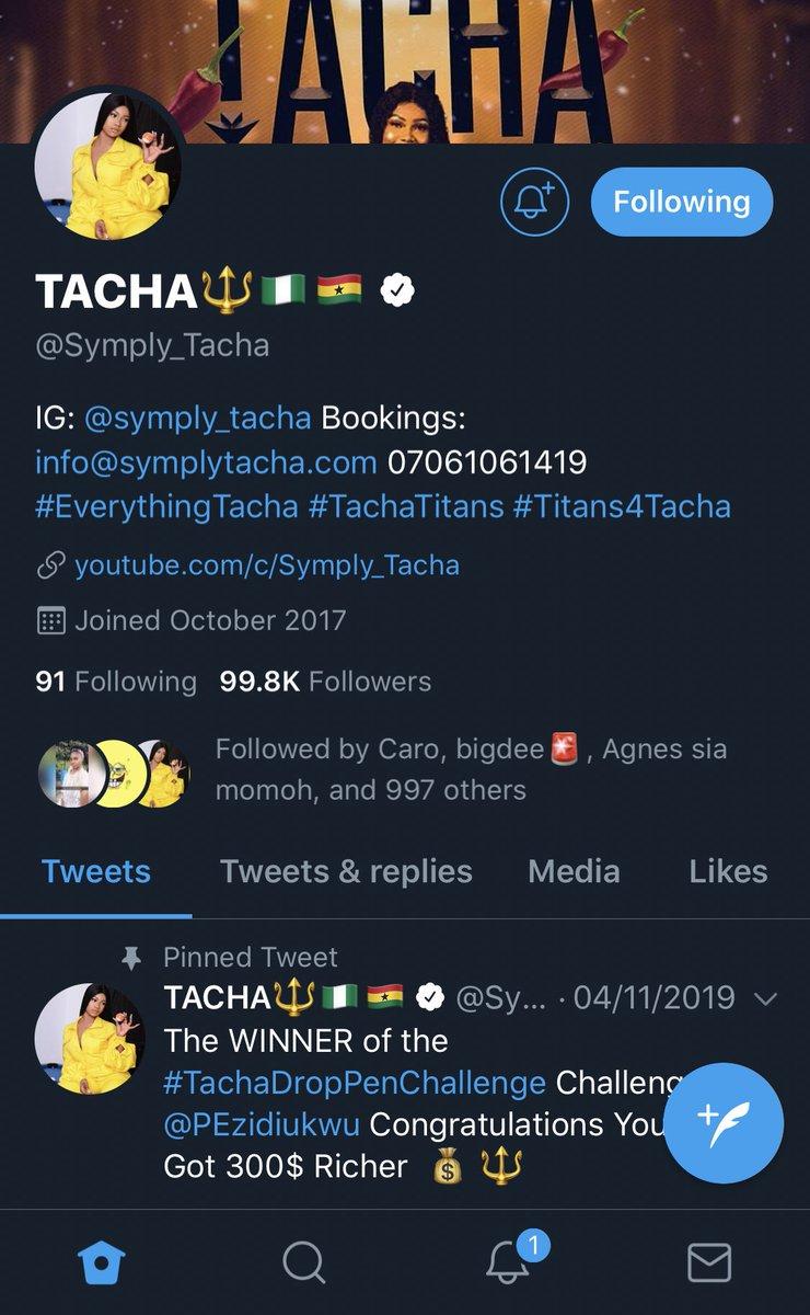 Tacha is verified oooo! First Housemate to verified on Twitter... yaaaaaaaaaaaaazzzzzzzz they gonna wake up to choke in the morning 😂😂😂😂 my ship has sailed ooo @jack X @Symply_Tacha  JACHA 🔥 #TachaIsverified #TachaPoolParty #TachaHomecoming #LetterToTacha