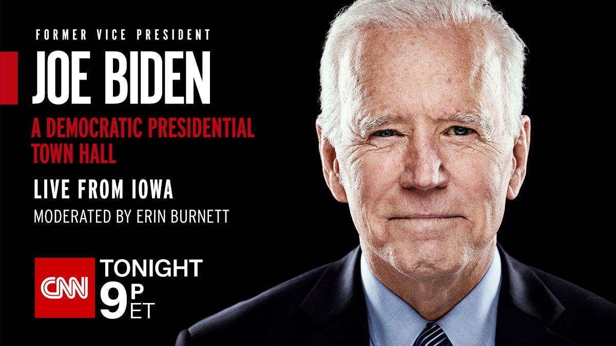 Joe Biden, former vice president and Democratic presidential candidate, takes questions on a host of issues at CNN's town hall in Iowa. Follow here for the latest https://cnn.it/36Upnen