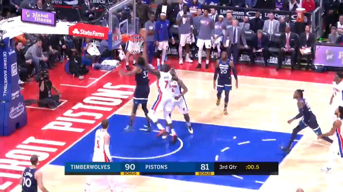 😤 KAT SLAMS IT! 😤 #Timberwolves   4th quarter underway in Detroit.  Watch Live: http://nba.app.link/leaguepass2