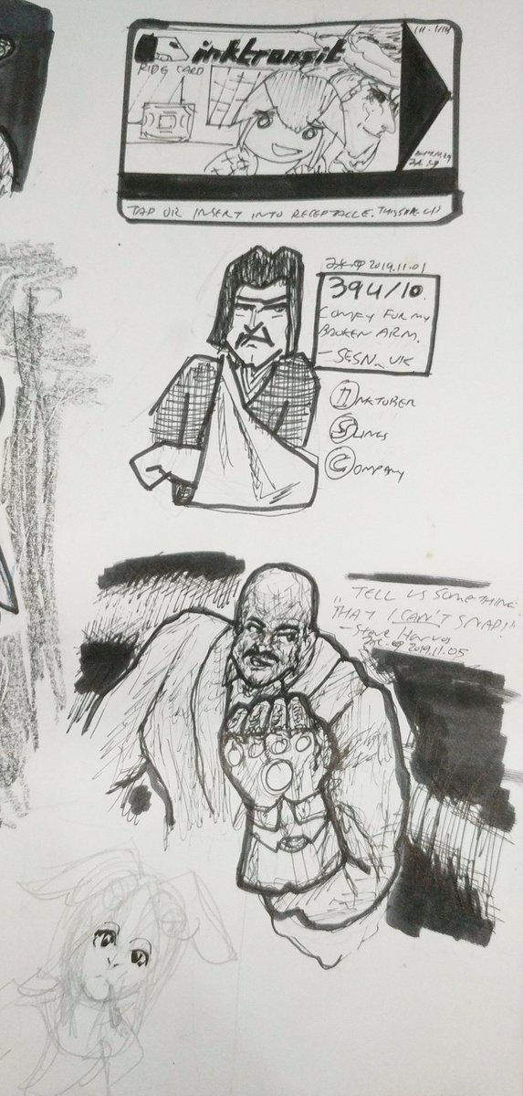 Sketches from the past 2 or so weeks, forgotten to post here. That also ends #inktober2019 stuff for me. <br>http://pic.twitter.com/KTy9WUgasM