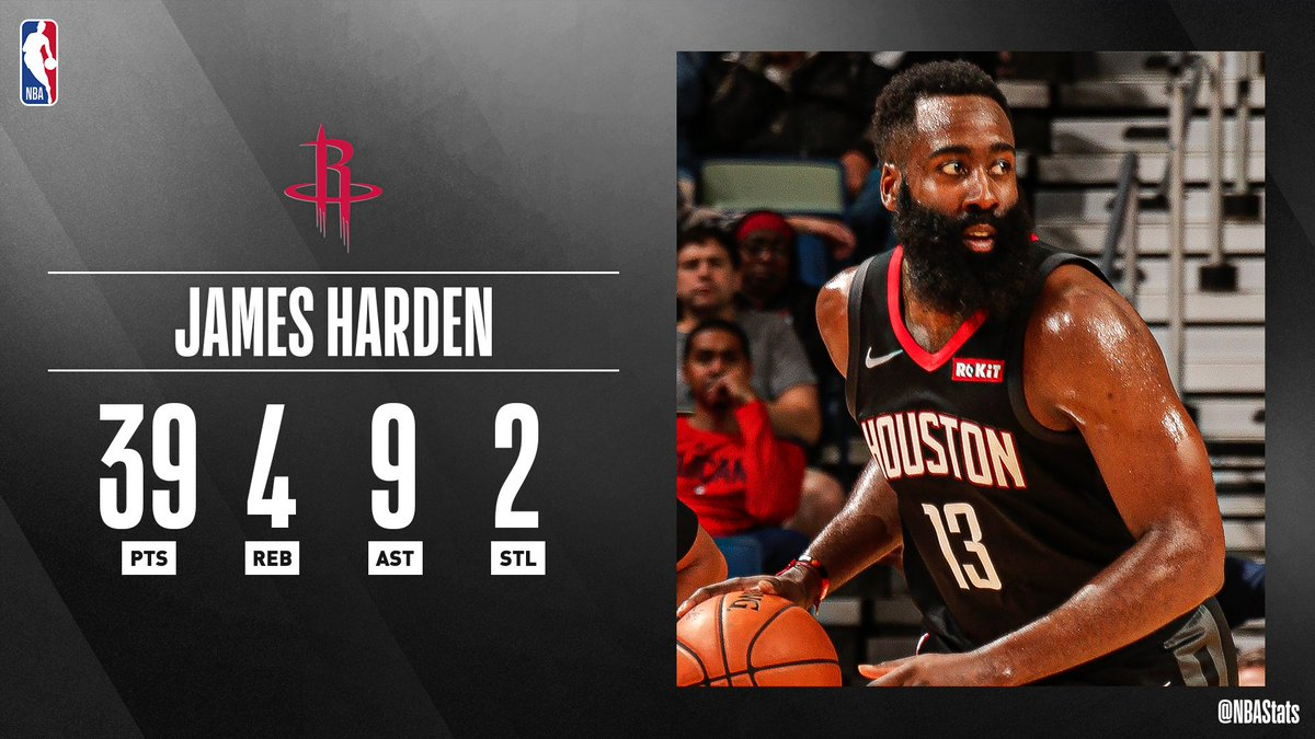 James Harden's 4th straight 35+ point game pushes the @HoustonRockets to their 4th consecutive W! #SAPStatLineOfTheNight