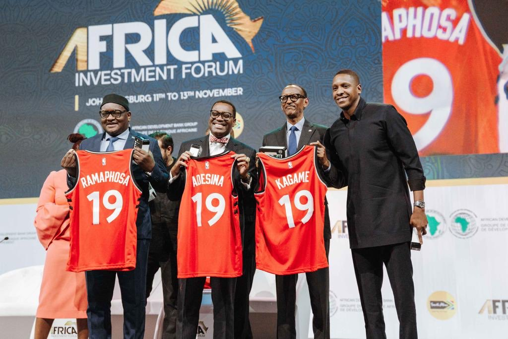 Masai with Premier David Makhura of South Africa, African Development Bank President Akinwumi Adesina, and his excellency President Paul Kagame at the 2019 Africa Investment Forum. Many leaders are gathered to redefine and unpack the continent's investment opportunities.