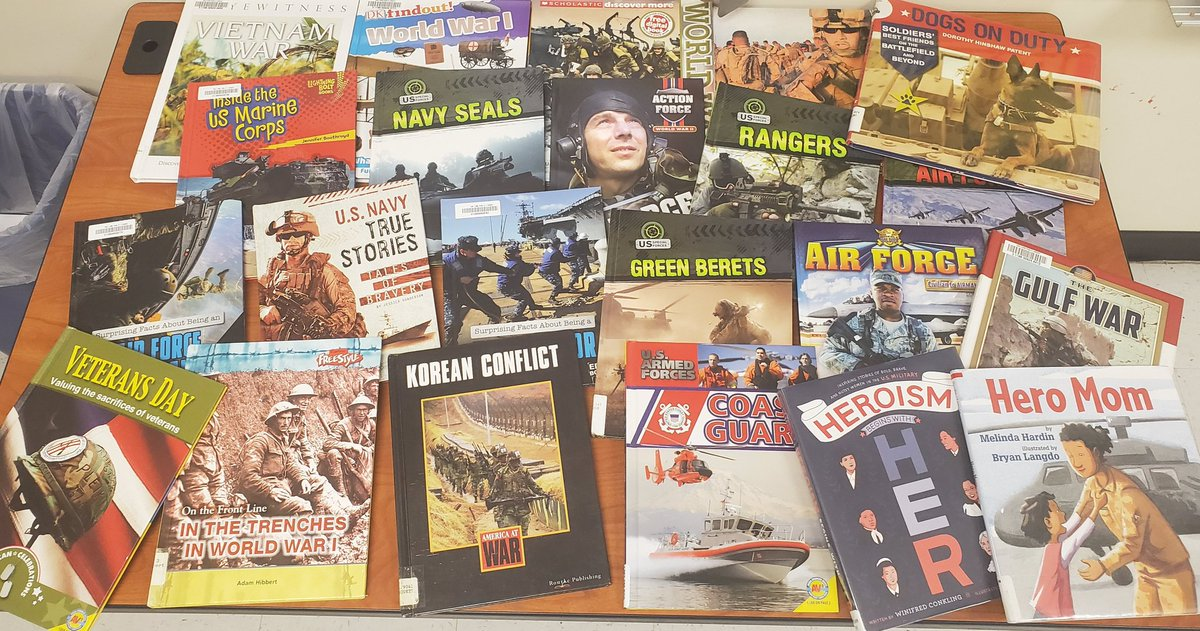 Just a few of the books we have been reading to learn more about our veterans. #OLHMS #D123
