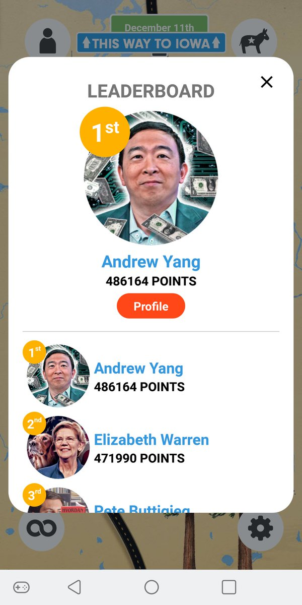 Had to call my mobile provider just to get the verification code for the full frontal game. I was not receiving automated txts for some reason. It was totally worth it, bc guess what #Yanggang?  @AndrewYang is in first place!!! 🤓