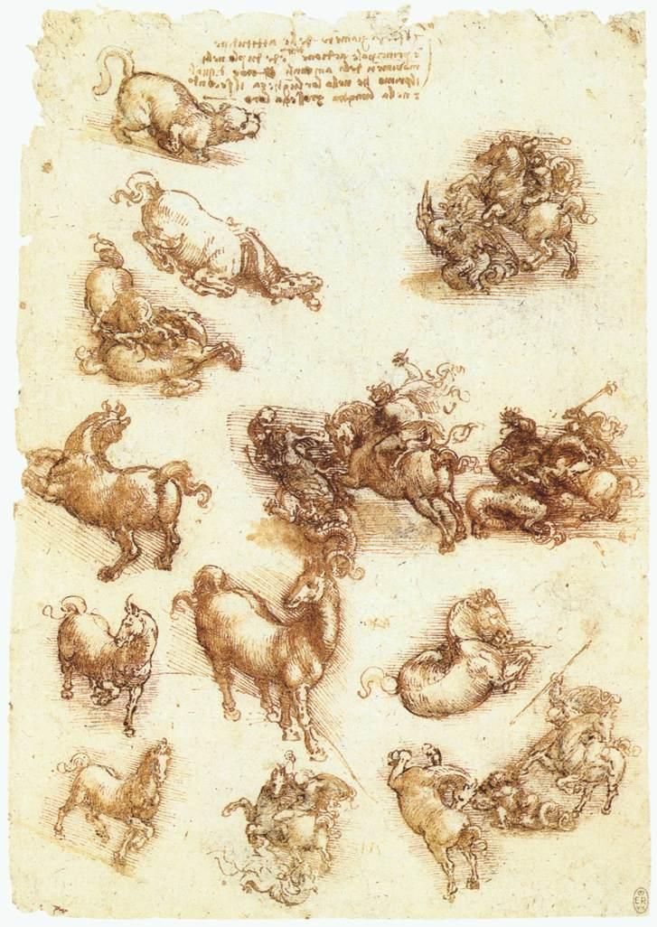Study sheet with horses, 1513 #davinci #leonardodavinci <br>http://pic.twitter.com/6RySmdg3iU
