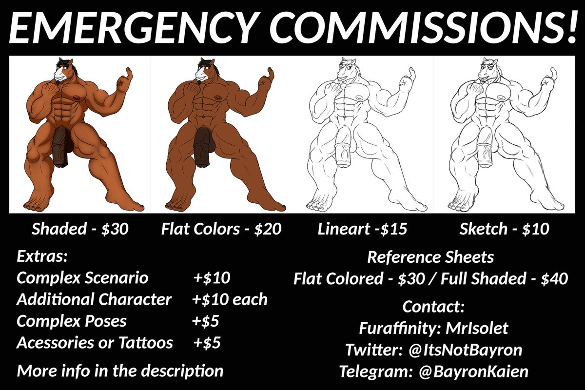 Hey guys, Ive been facing some tense problems, I really didnt want to do this, but Im opening emergency commissions. More info about what happened + prices here: furaffinity.net/journal/931868… Please, I beg you to share this post to whoever might be interested. Thanks.