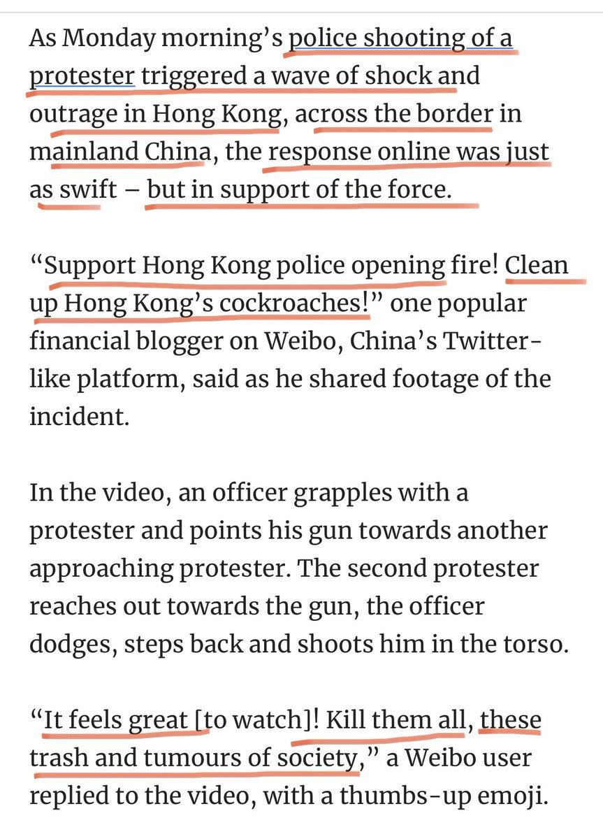 几个月来中共把港人争取民主自由打造成为港独运动,并大篇幅报道和宣传港人打砸抢 今日终于达到了民族仇恨的巅峰状态 北京日报报道:警察的枪声引起市民的掌声和欢呼声,警察表现得相当勇敢  大批网络水军跟帖说:把那些香港蟑螂全部杀光,直接对准他们的脑袋开枪!  邪恶帝国公开支持和怂恿兽性性行为