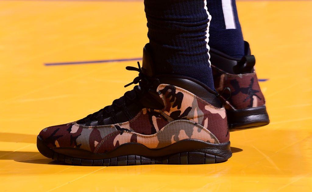 Jeff Green's camo Jordan 10!   #NBAKicks #HoopsForTroops