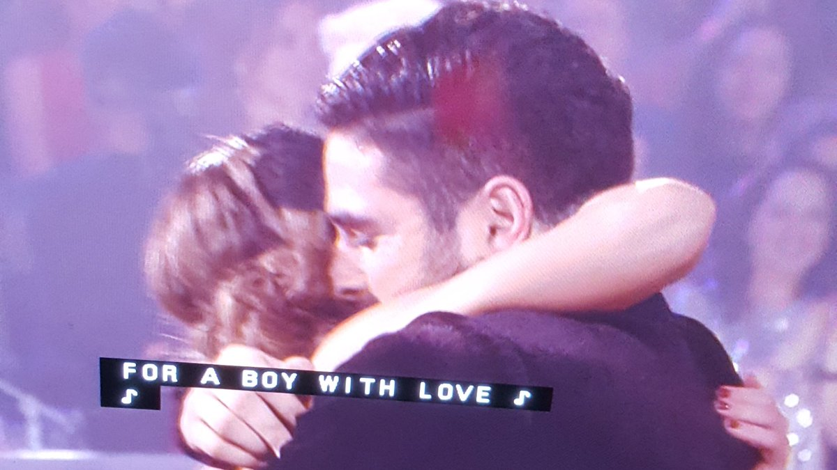 It was amazing to see, first our Boys pic on TV! on #DWTS  show!  second, a couple dancing to @BTS_twt iconic song #BoyWithLuv !! Thank you Hannah and Alan They got 39 out of 40 points <br>http://pic.twitter.com/7sGVIMsEK5