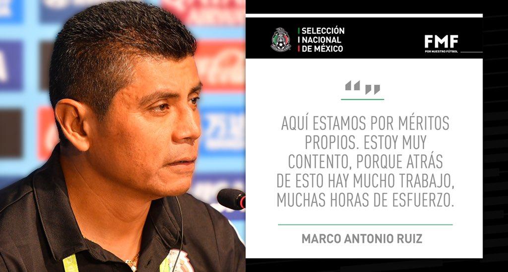 Marco Antonio Ruiz, técnico de la selección mexicana de futbol Sub 17, afirmó que sus jugadores han justificado con buen futbol y resultados el prestigio que se ha ganado el Tri en esta categoría, en la que ha conquistado dos títulos mundiales.📷 TW/@miseleccionmx• #Notimex