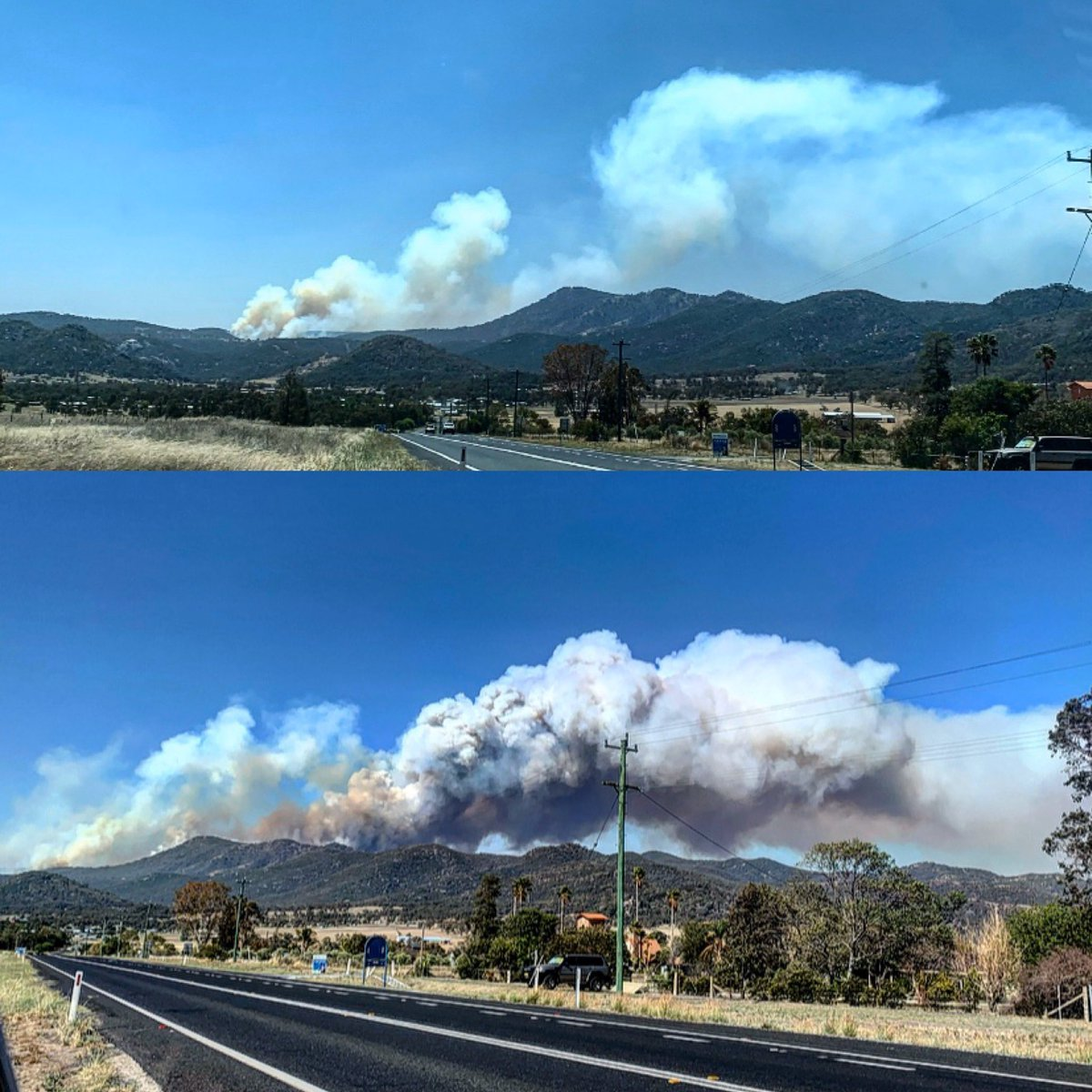 Top photo taken at 12:30pm  Bottom photo at 4pm  #moonbifire #bushfire #bushfirensw   Thank you to all the amazing men and woman out fighting all these fires that Are burning across our country. https://t.co/qhbPYzR7eQ