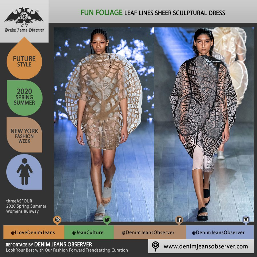 threeASFOUR 2020 Spring Summer Womens Runway Catwalk Looks Collection - New York Fashion Week NYFW - Human Plant Botanical Leaf Foliage Fauna Lines Branches Sheer Ruffles Sculpture Dress Sandals - Fashion Forward Trendsetting Curation by Denim Jeans Observer