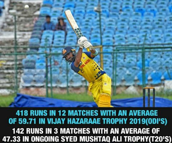 maintaining his consistency only in Domestic games. 😶#vijayhazaretrophy #SMAT #DK