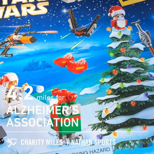 Track run with Team FTC! 4.2 @CharityMiles for @alzassociation. Very excited about my new Advent calendar! #starwars
