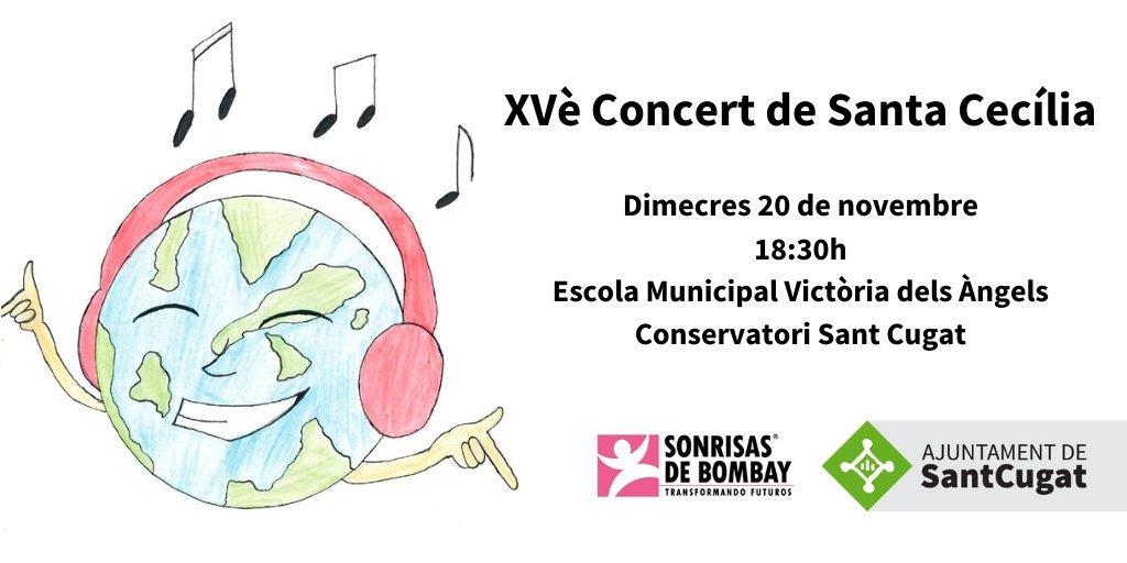 El pròxim dimecres 20-N vine al concert solidari de Santa Cecília organitzat per l'Escola Municipal de Música Victòria dels Àngels i Conservatori de Música #SantCugat   🎟️🎟️ Tickets solidaris 10 €  La recaptació es destinarà al projecte ''Girl'' de l'ONG @Sonrisasdbombay