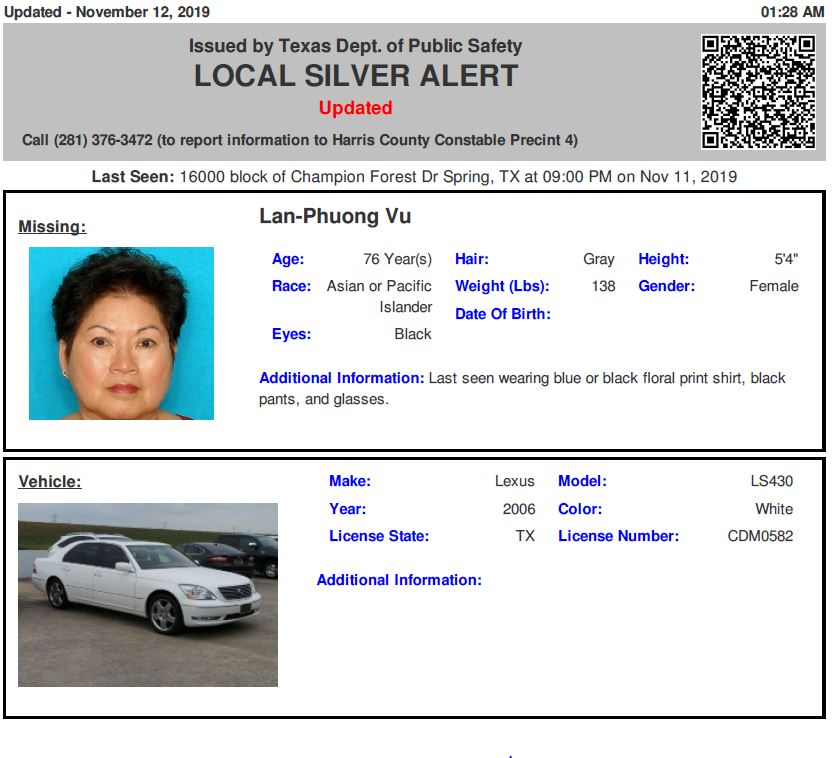 RT @TX_Alerts: ACTIVE SILVER ALERT for Lan-Phuong Vu from Spring, TX, on 11/11/2019 https://t.co/pcNvm61tAr