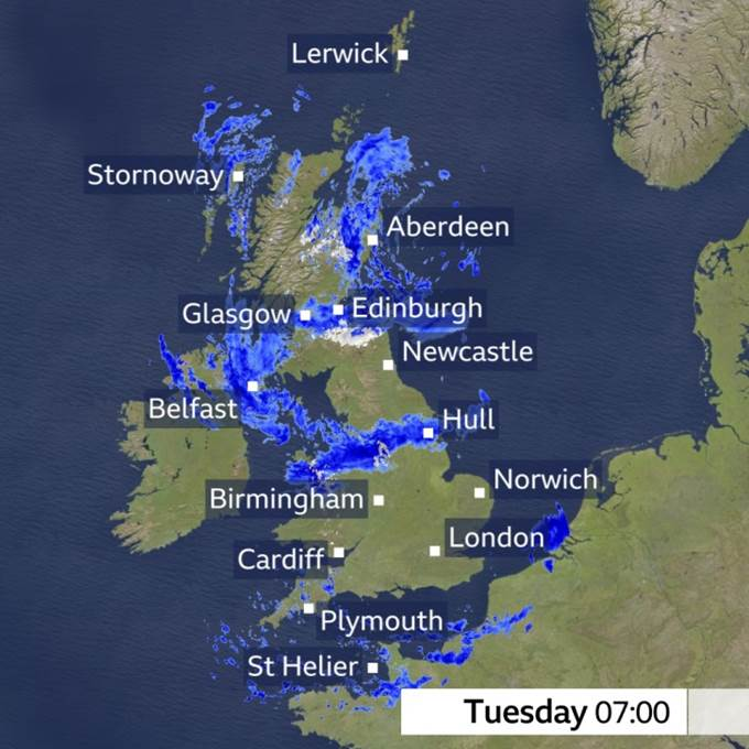 A chilly start with rain and showers moving southwards. Windy for a time, particularly in north Wales and northwest England.