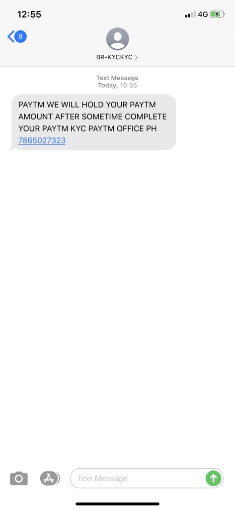 I got a message and then a call from 9851498982 , the man from the other side asked me to download an app. for KYC, when I questioned him and refused to do so he abused and disconnected. @Paytmcare  I am worried about those who must have downloaded the app @OfficeOfRSP