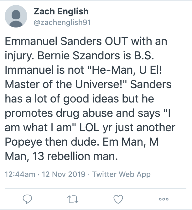My personal favorite Emmanuel #Sanders injury tweet is this one, that tries to subtly loop in nonsensical political views about @BernieSanders/delineates into sentence fragments. See if you can catch it. I wonder, could this be a bot, @Twitter? 🤔😂😂😂 #49ers #Seahawks #MNF