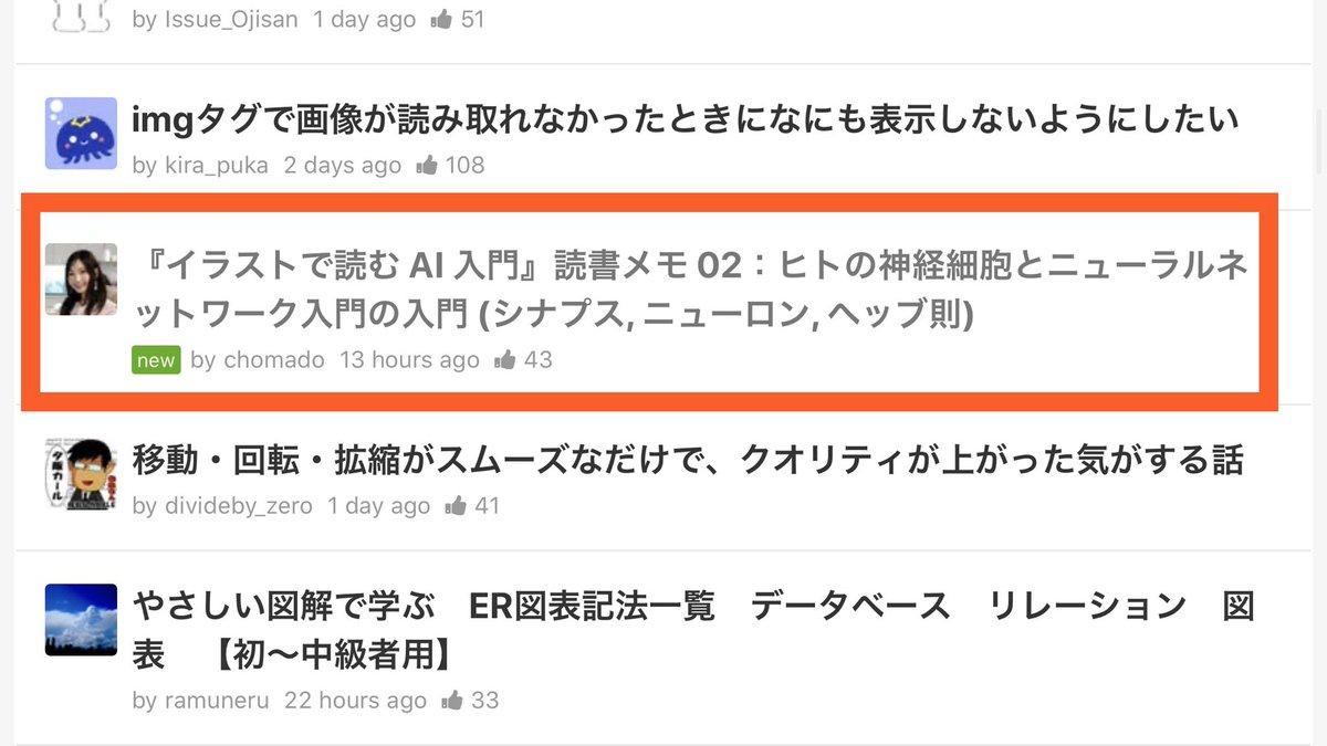 #Qiita に投稿するのはまだ2回目だけど、今回の #ちょまどAI入門 記事(  )もまたトレンド入りしました😍嬉しいです!ありがとうございます!