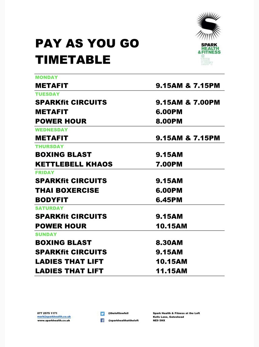 We have a great selection of pay as you go sessions today starting with SPARKfit Circuits at 9.15am. Book now  #sparkhealth #gym #community #lowfell #nefollowers #sparkisforeveryone
