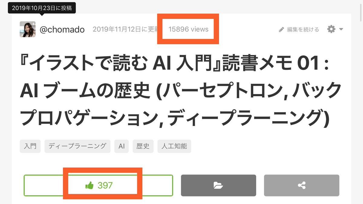 3週間前に投稿した、前回の #ちょまどAI入門 記事(  )は、15896 views で397 いいねを頂きました🙇♀️沢山の方に見て頂けて嬉しいです!ありがとうございます!🥺🙏✨(というかもう 3 週間も経ってたんだね、もっと頻繁に投稿できるように頑張ります!)